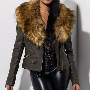 AKIRA Faux Fur Leather Jacket